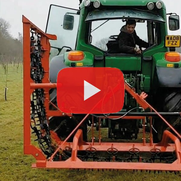 Rear mounted chain harrow grass harrow. Heavy duty frame and tooth. British design from Agritrend Ltd